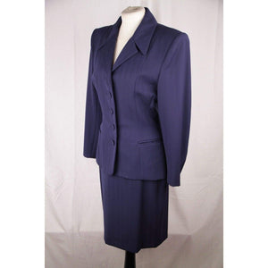 Omo Norma Kamali Vintage Navy Blue Wool Skirt Suit Size 6 Opherty & Ciocci