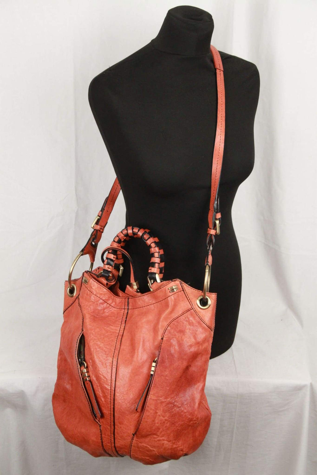 Oryany Orange Leather Gwen Shoulder Bag Opherty & Ciocci