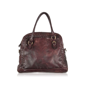 Airstep Brown Antiquated Leather Tote Bag With Studs Opherty & Ciocci