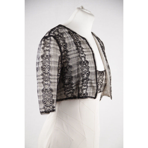 Antonio Berardi Off White Silky Sheath Dress & Bolero Jacket W/ Lace Size 44 Opherty Ciocci