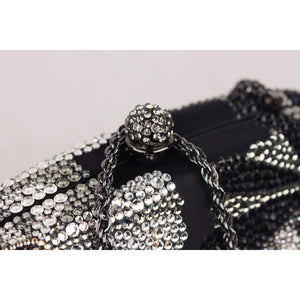 Black Satin Small Crystal Box Clutch Bag Opherty & Ciocci