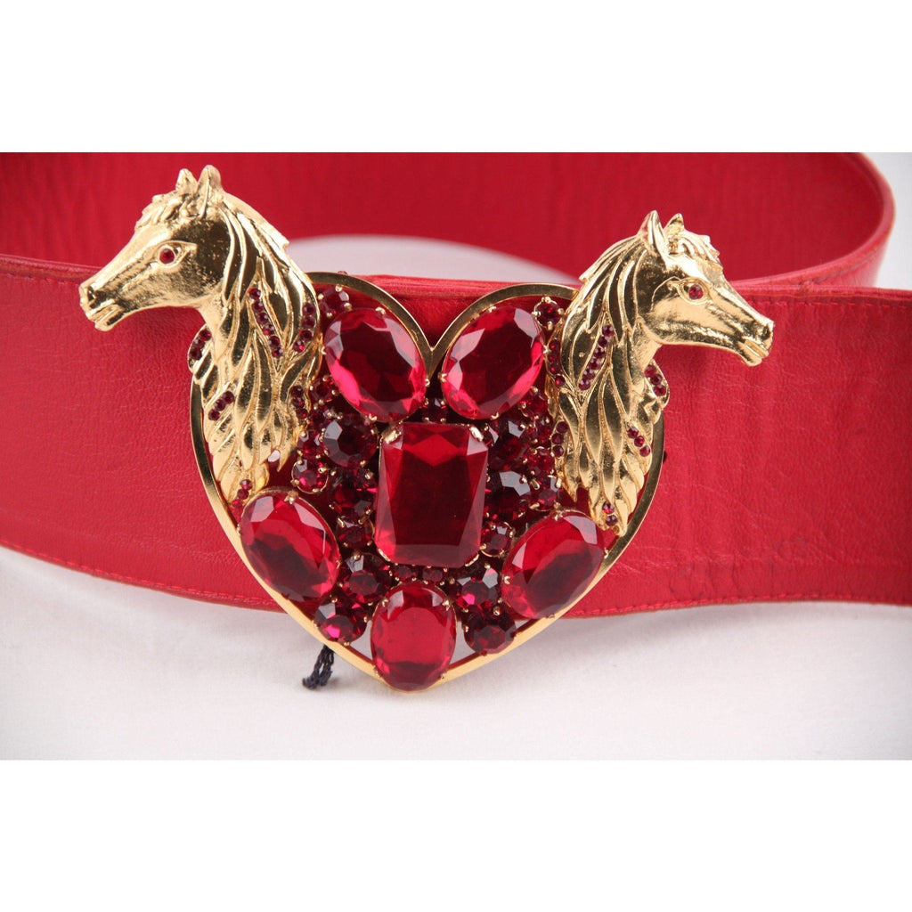 Bozart Vintage Red Leather Wide Belt W/ Embellished Heart Buckle Opherty & Ciocci