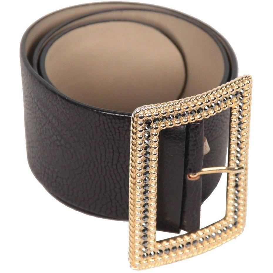 Brambilla Milano Vintage Black Leather Wide Belt W/ Jeweled Buckle Size 85 Opherty & Ciocci