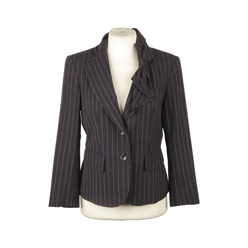 Dkny Donna Karan Wool Blue Pinstriped Blazer Jacket With Bow Size 2 Opherty & Ciocci