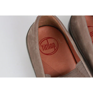 Fitflop Taupe Nubuck Due M-J Flats Bungee Cord Shoes Size 37 Opherty & Ciocci