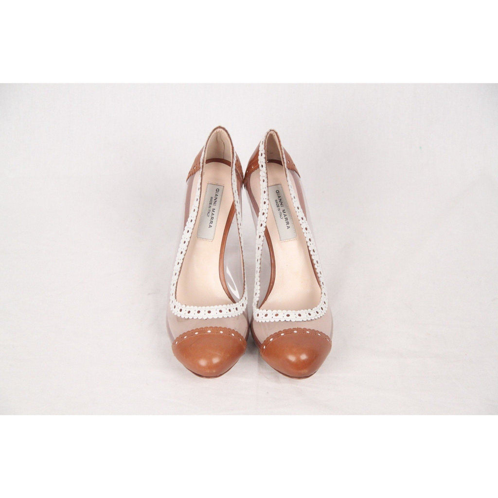 Gianni Marra Transparent Vinyl Cap Toe Pumps Shoes Heels Size 37 Opherty & Ciocci