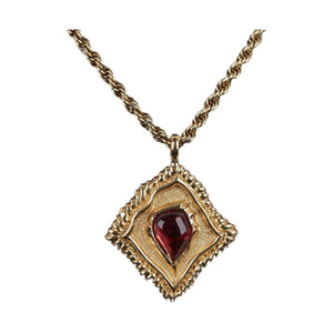 Jean Louis Scherrer Vintage 1980S Gold Metal Massive Necklace Red Resin Opherty & Ciocci