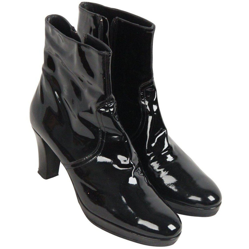 Laudadio Roma Vintage Black Patent Leather Ankle Boots Size 37 Opherty & Ciocci
