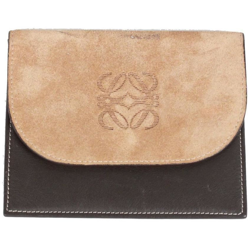 Loewe Brown Leather & Suede Wallet Coin Purse Pouch Opherty Ciocci