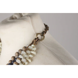 Pellini Milano Asymmetric Multi Strands Necklace Blue Gray Opherty & Ciocci