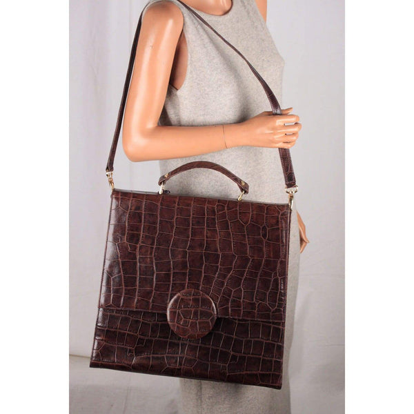 Roy La Vintage Brown Embossed Leather Large Satchel Shoulder Bag Opherty & Ciocci