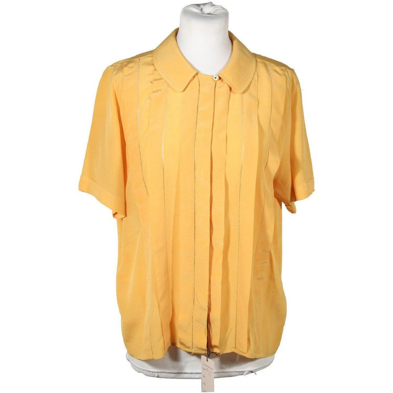 Spiga 31 Vintage Yellow Silk Short Sleeve Shirt Pintuck Blouse Sz 40 Opherty & Ciocci