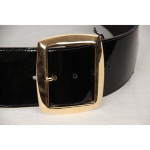 Vintage Black Patent Leather Wide Belt Size 85 Opherty & Ciocci