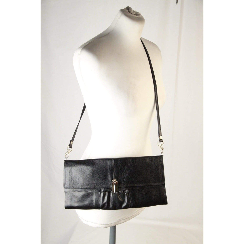 Pellettrie Bucci Vintage Black Leather Clutch W/ Shoulder Strap Opherty & Ciocci