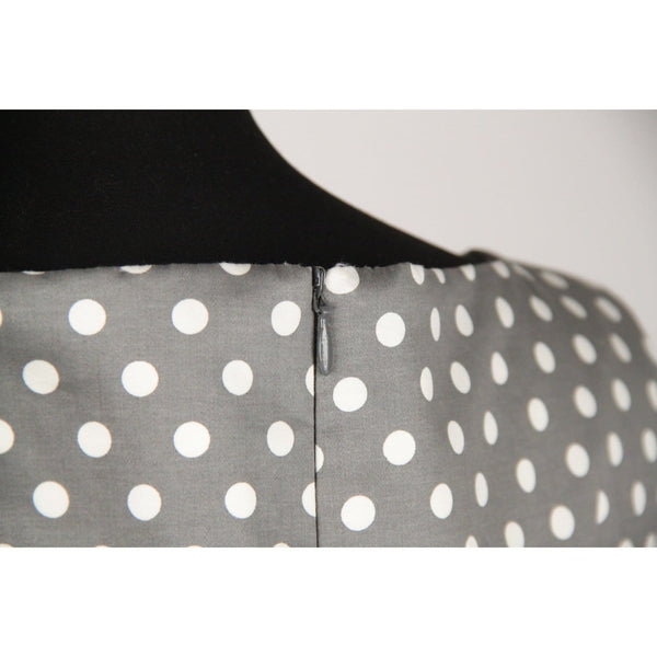 Peserico Gray Polka Dot Cotton Blend Sheath Dress Size 46 Opherty & Ciocci
