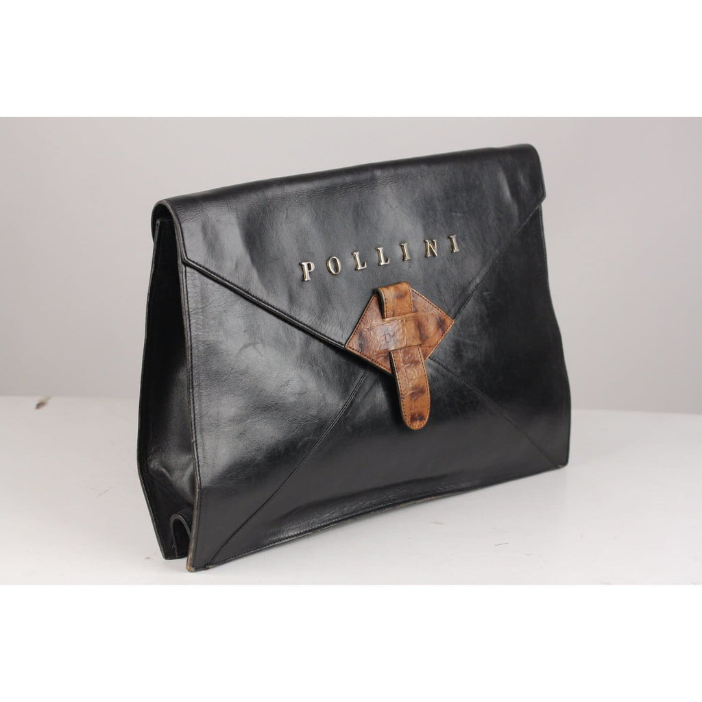 Black Leather Clutch Portfolio Work Bag Opherty & Ciocci