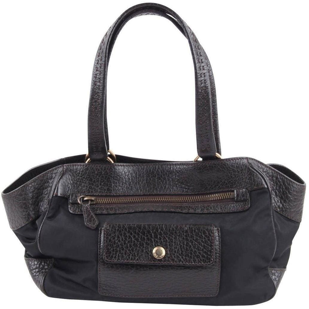 Prada Black Canvas & Dark Brown Leather Tote W/ Front Pockets Opherty & Ciocci