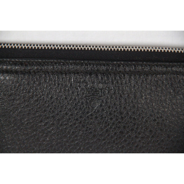 PRADA Black CERVO Leather Large TRAVEL WALLET 2M1203