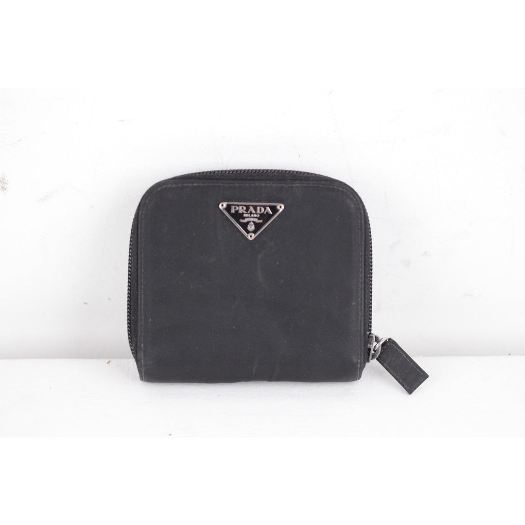 PRADA Black Vela Tessuto Canvas ZIP COMPACT WALLET