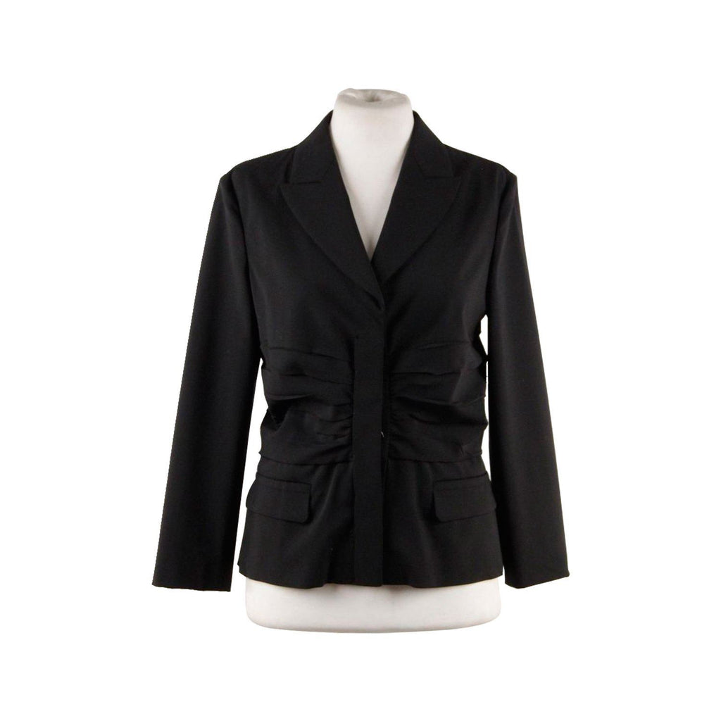 Prada Black Virgin Wool Blazer Single Breasted Jacket With Draping Size 42 It Opherty & Ciocci