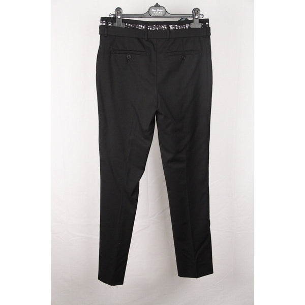 PRADA Black Virgin Wool  PANTS Trousers w/ BELT Size 40