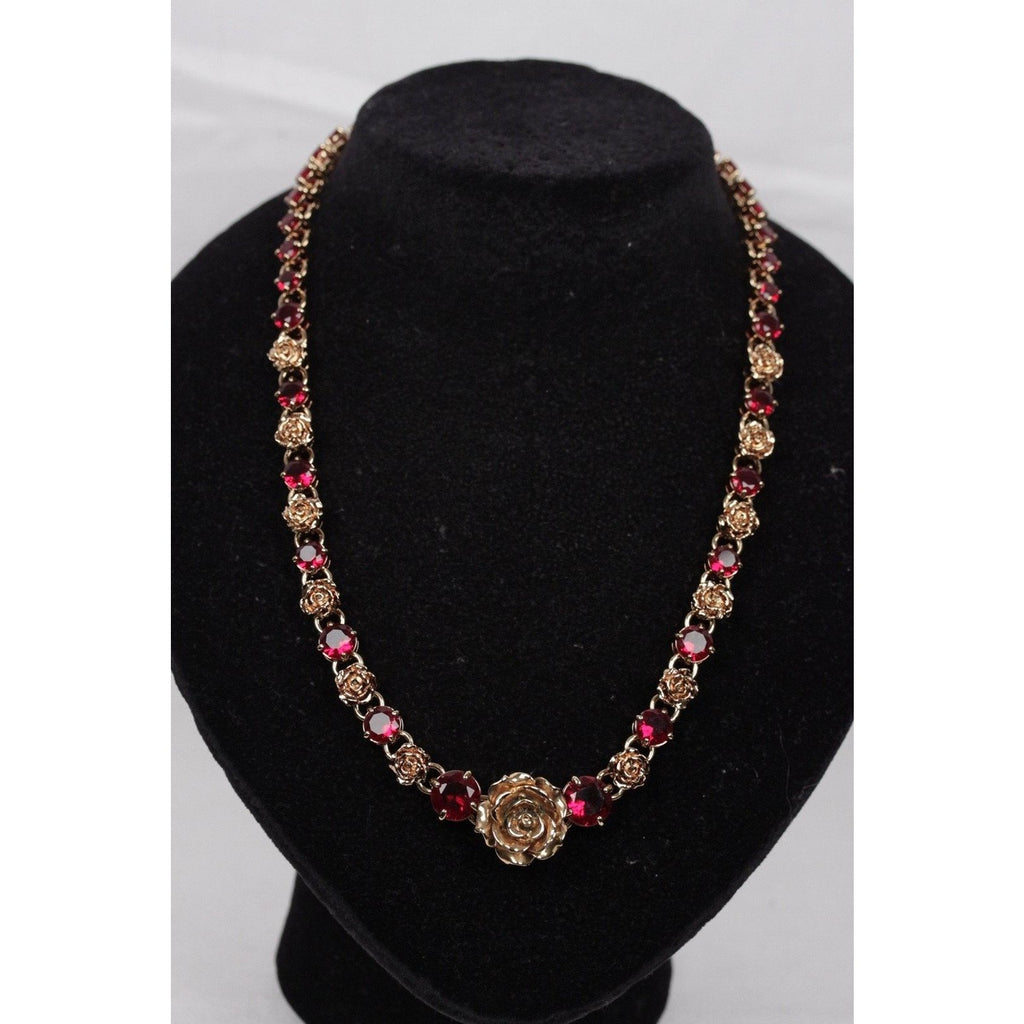 ZZ_PRADA Gold Metal Red RHINESTONES Roses NECKLACE w/ BOX SC - OPHERTYCIOCCI