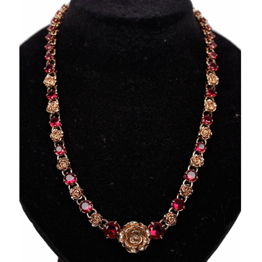 PRADA Gold Metal Red RHINESTONES Roses NECKLACE w/ BOX
