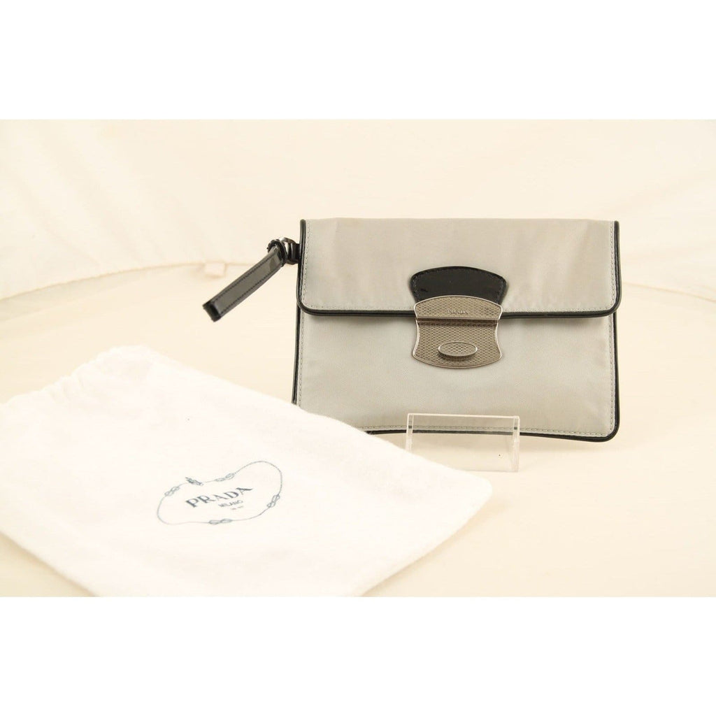 Prada Gray Canvas & Black Patent Leather Wristlet Wrist Bag Pouch Opherty & Ciocci