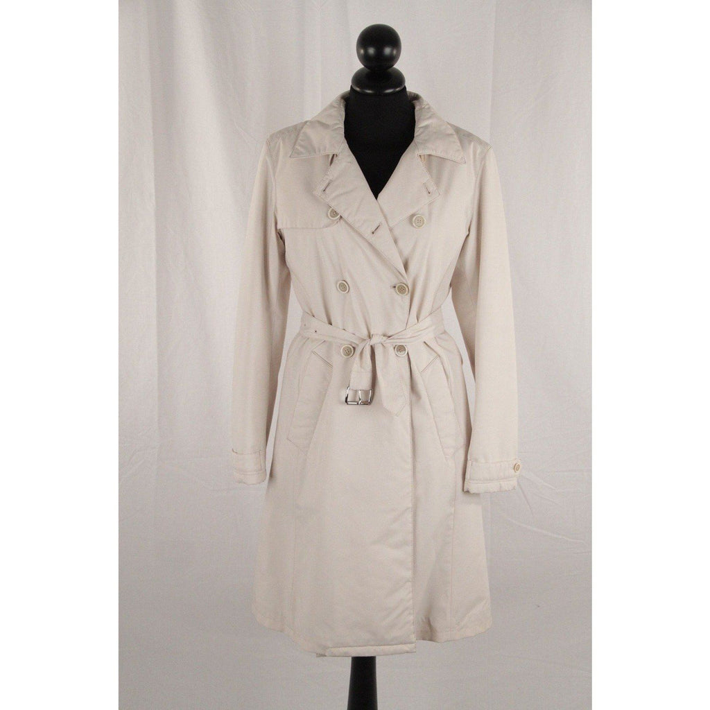 Prada Ivory Nylon Double Breasted Padded Trench Coat W/ Belt Size 40 Opherty & Ciocci
