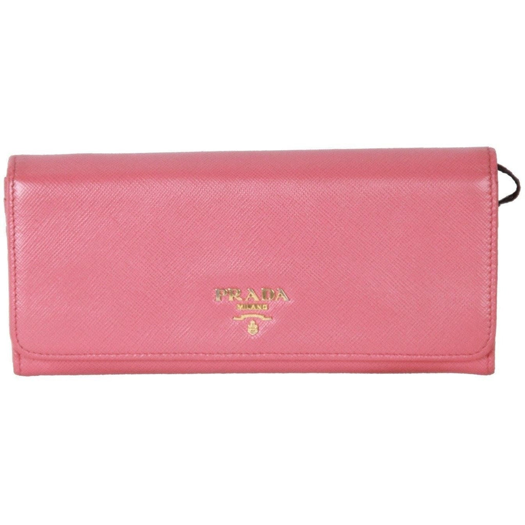 Prada Pink Saffiano Leather Flap Continental Wallet 1M1132 Opherty & Ciocci