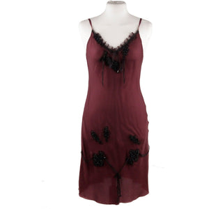 PRADA Pure Silk Purple CAMI DRESS Slip On Style w/ Beading SIZE M