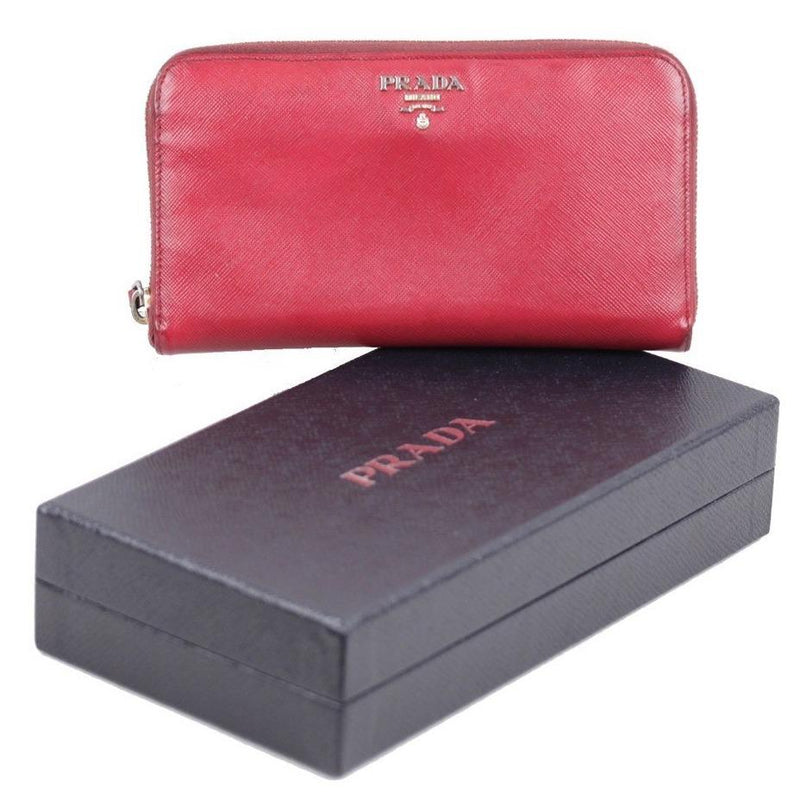 ZZ_PRADA Italian Red SAFFIANO Leather CONTINENTAL ZIP WALLET Coin Purse w/ BOX AS - OPHERTYCIOCCI