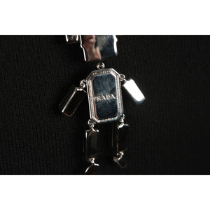 Robot Necklace Saffiano Leather & Crystals Opherty & Ciocci