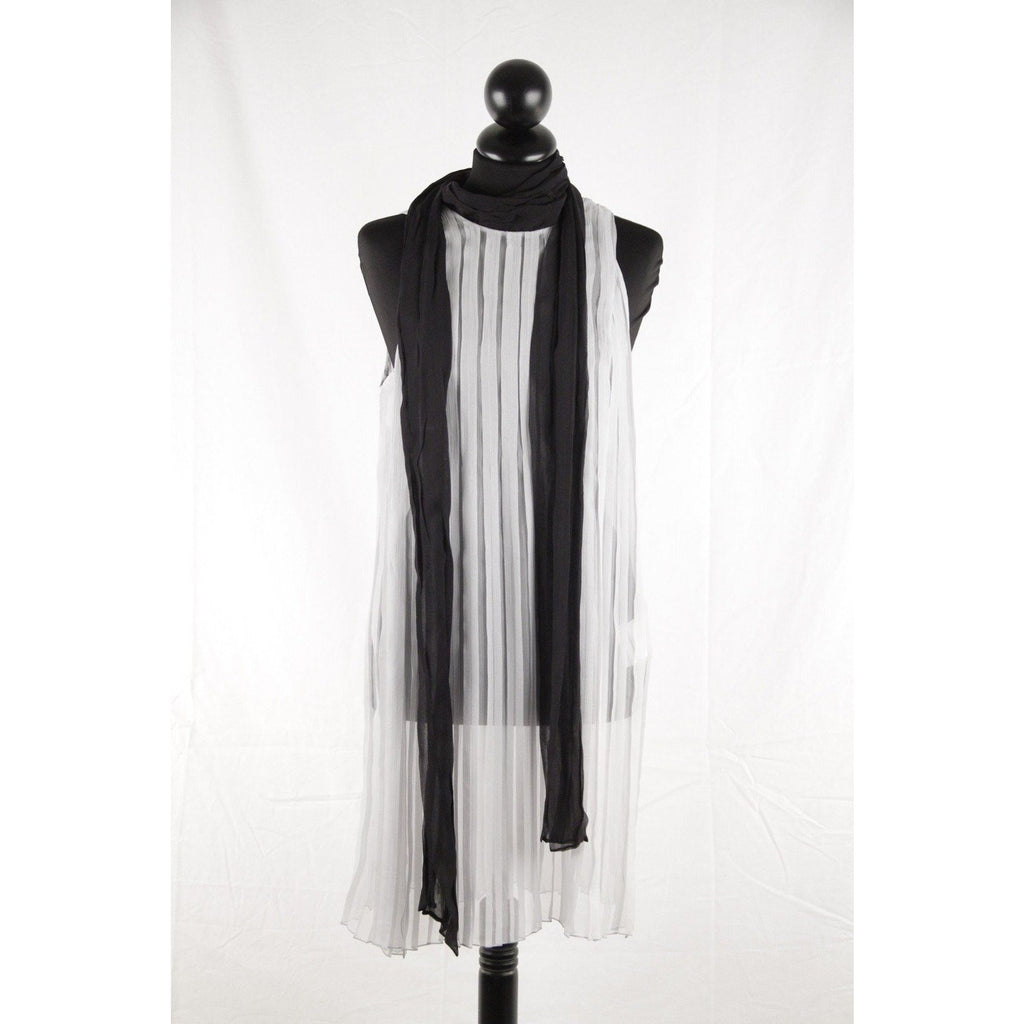 ZZ_PRADA Silk Pleated SHIFT DRESS w/ Contrast SELF TIE SCARF Size 38 EM - OPHERTYCIOCCI