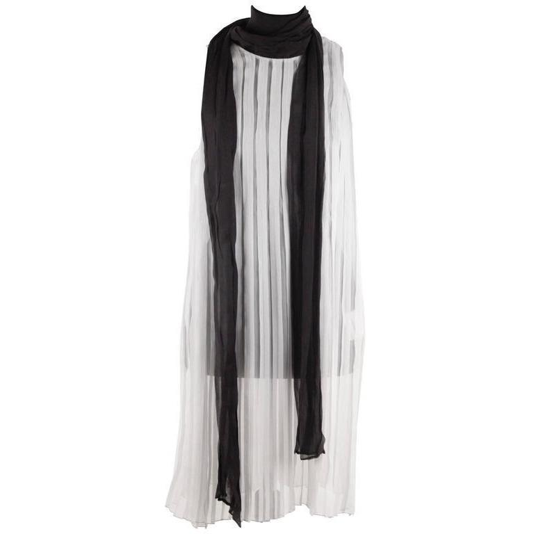 PRADA Silk Pleated SHIFT DRESS w/ Contrast SELF TIE SCARF Size 38