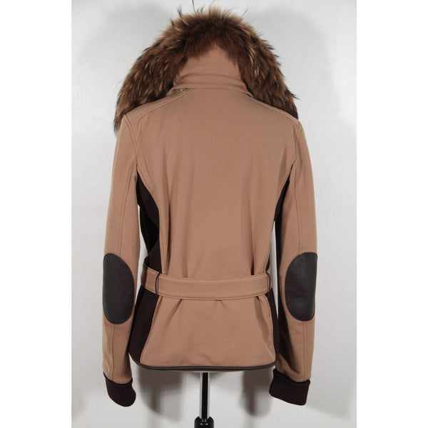 PRADA Tan BELTED ZIP JACKET Fur Collar SIZE 44