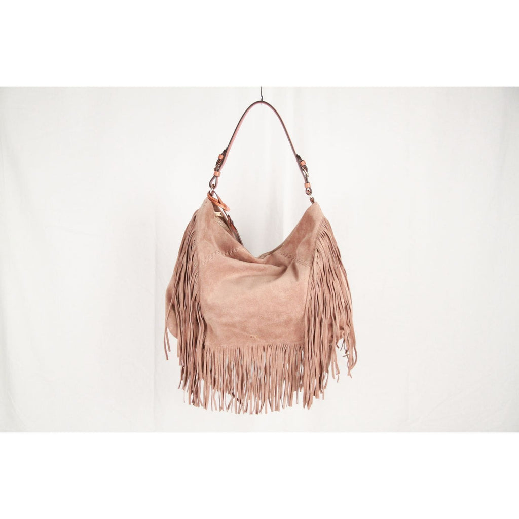 Lauren Ralph Lauren Beige Suede Fringed Hobo Shoulder Bag Opherty & Ciocci
