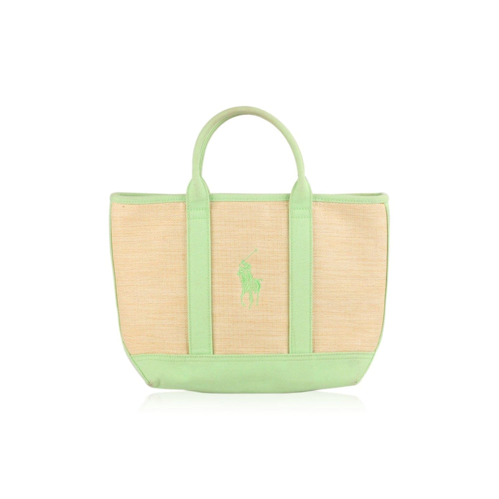 Raffia Green Canvas Polo Player Tote Bag Opherty & Ciocci