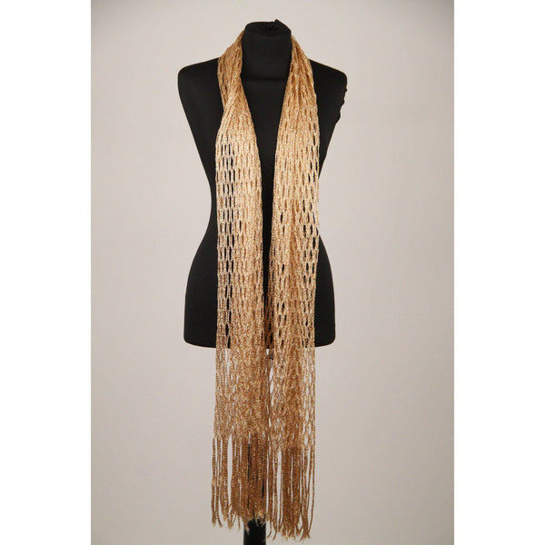 Gold Metallic Lattice Perforated Shawl Scarf With Fringes Opherty & Ciocci