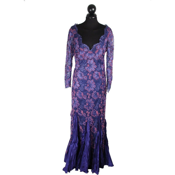 Renato Balestra Vintage Blue Beaded Evening Dress Gown Opherty & Ciocci