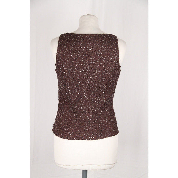 Renato Balestra Vintage Brown Beaded Shell Top Sleeveless Size 42 Opherty & Ciocci
