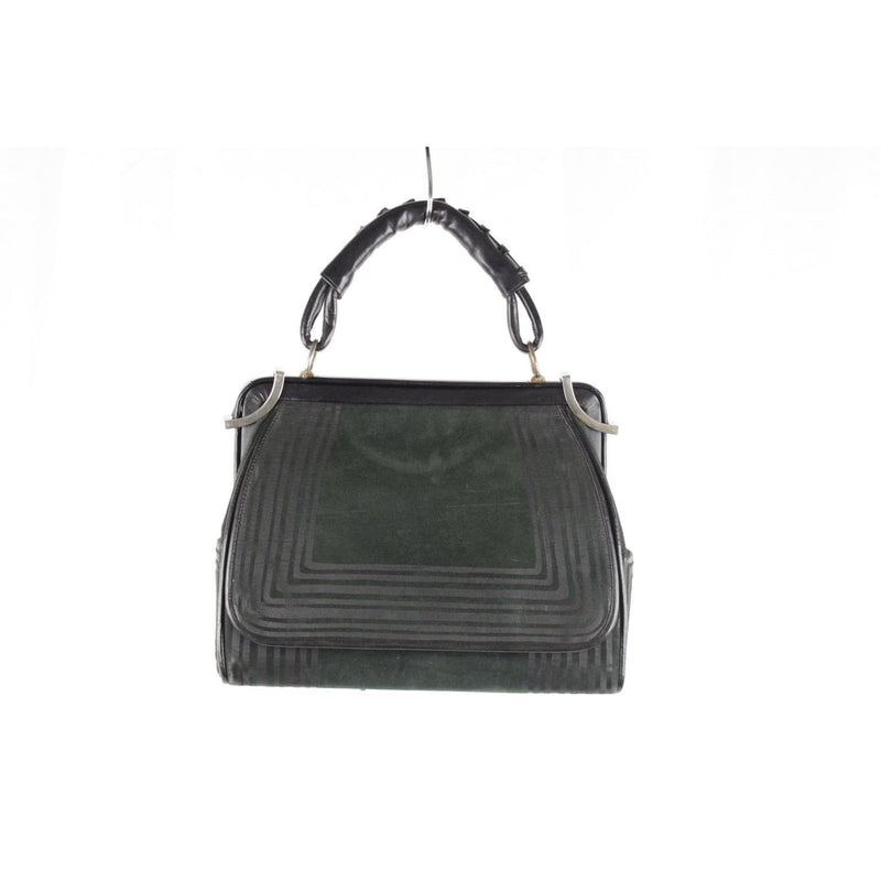 Green Black Suede Top Handle Bag Opherty & Ciocci