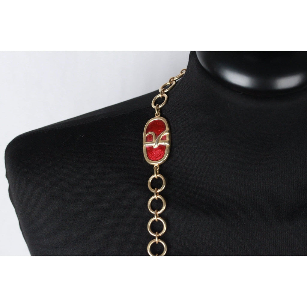 Roberta Di Camerino Vintage Gold Metal Chain Belt Or Necklace Red Opherty & Ciocci