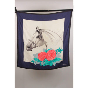 Vintage Silk Scarf Horse Head And Roses Opherty & Ciocci