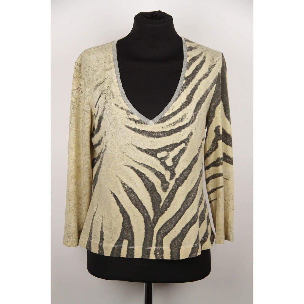 Roberto Cavalli Animal Print Stretch Cotton V Neck Top Size L Opherty & Ciocci