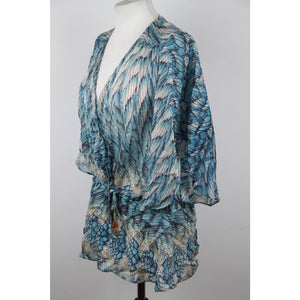 Roberto Cavalli Blue Printed Silk Blouse Billowing Sleeve Size 38 It Opherty & Ciocci