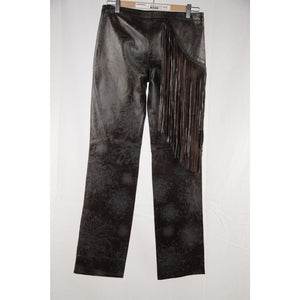 Just Cavalli Embossed Leather Pants Trousers W/ Fringes Size 40 Opherty & Ciocci