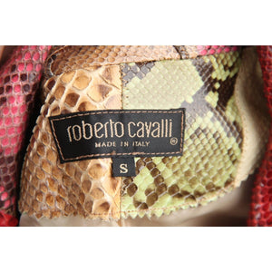 Roberto Cavalli Multicolor Patchwork Snakeskin Leather Blazer Jacket Sz S Opherty & Ciocci