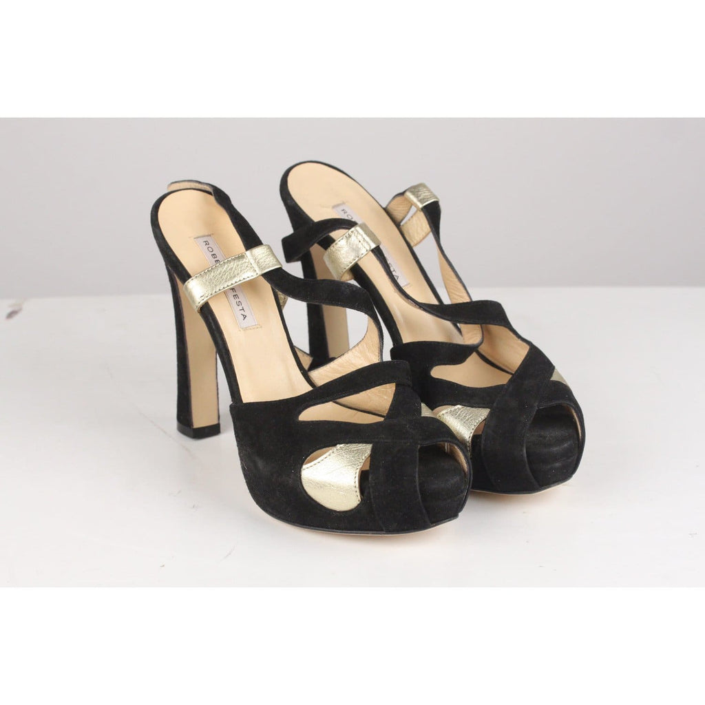 Gold And Black Suede Sandals Heels Shoes Size 36 Opherty & Ciocci