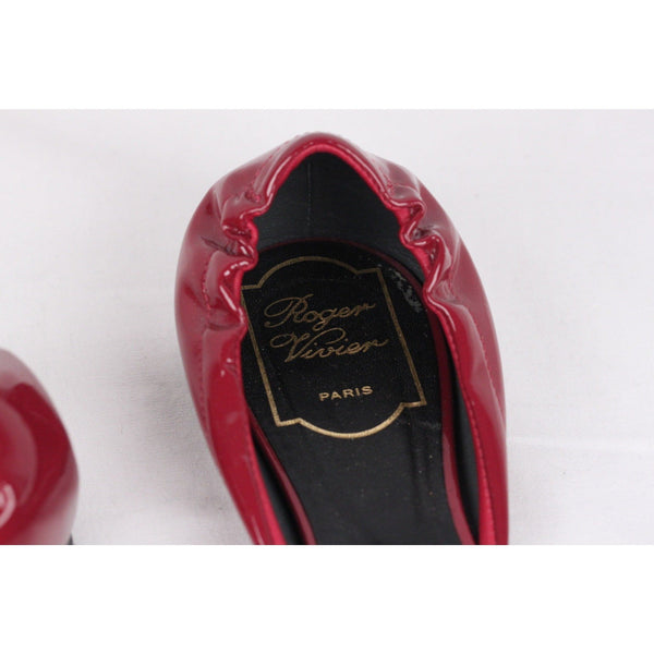 ROGER VIVIER Burgundy Patent Leather CUT OUT BALLERINA Flat Shoes SIZE 38